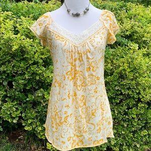 Fang crochet detail tunic top L
